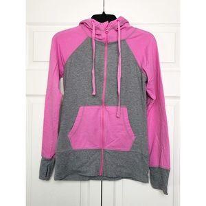 Zella Gray/Pink Zip Up Athleisure Hoodie